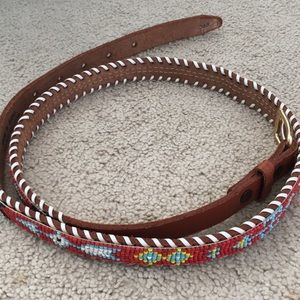 """Beaded Indian Leather Belt 42"""" Long"""